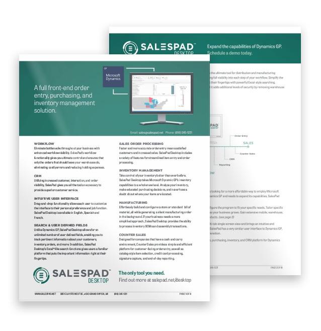 SalesPad Desktop fully integrates with Microsoft Dynamics GP